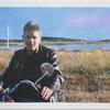 """Motorcycle Jacket,""  2005 <br> Oil & digital collage on canvas. 60 x 36 inches. <br> <br> Jeff Zinn – Director, Producer,  Co-Founder W.H.A.T.(Wellfleet Harbor Actors Theater)."